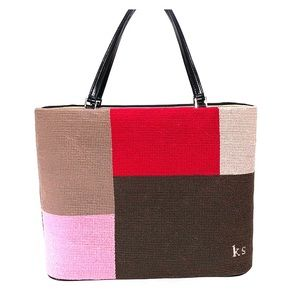 Kate Spade gabardine with needlepoint handbag